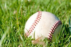 Baseball on the grass
