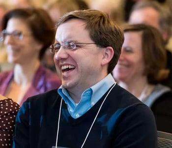 Man laughs during celebration