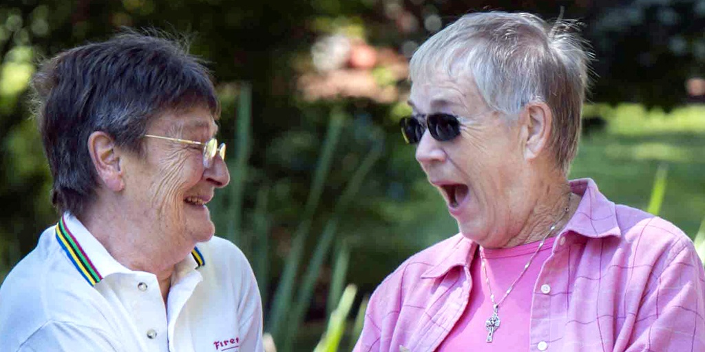Two ROC residents share a good laugh.