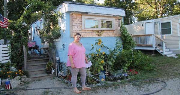 Woodbury Cooperative resident Kathy Ireland outside her home.