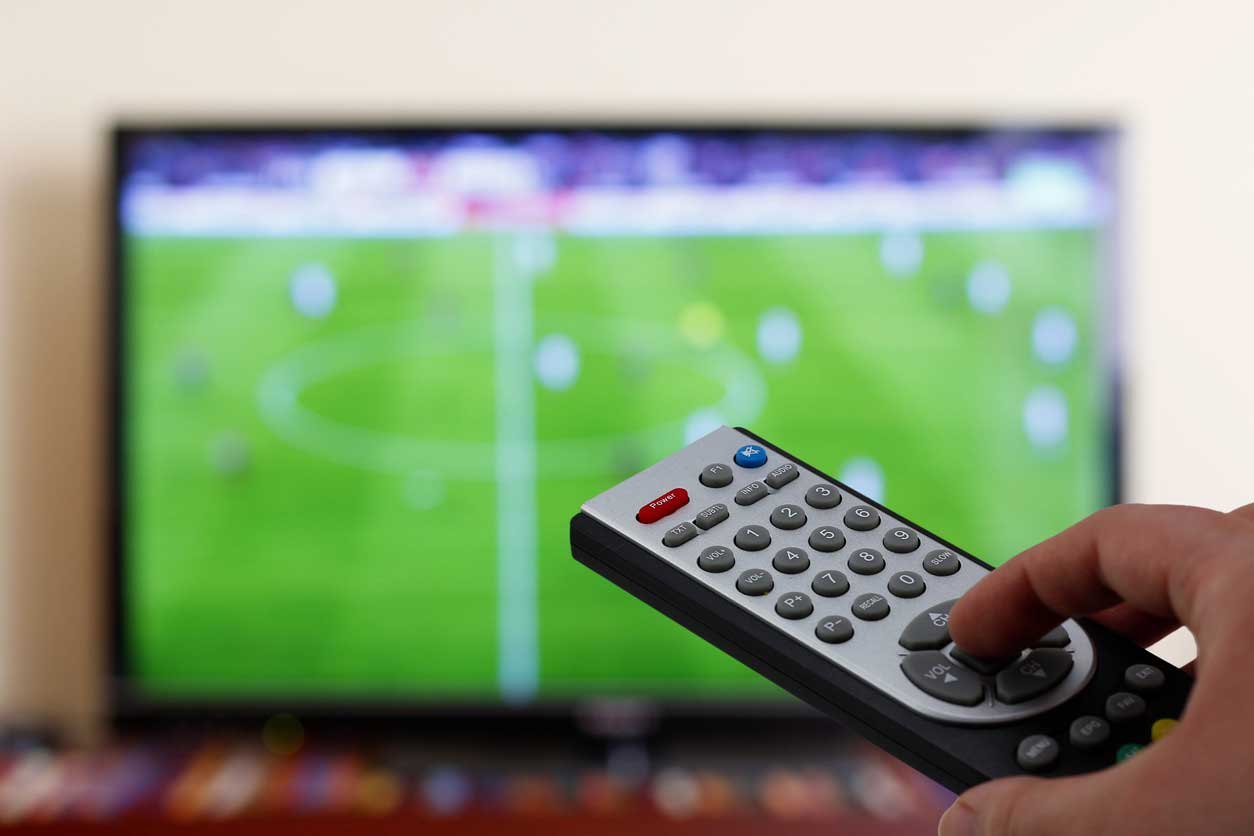Television cable remote aimed at screen