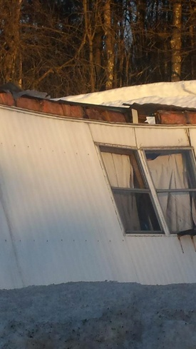 Home severely damaged when the room collapsed