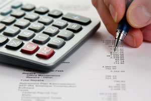 Financial statement with calculator