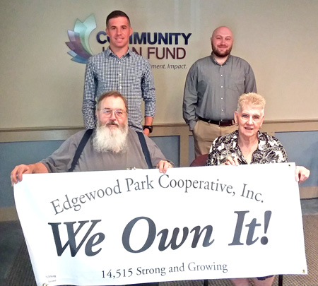 Front row, Edgewood Park Cooperative President A.J. Perras and Vice President Joyce LaPorte. Behind them, l to r, are ROC-NH Housing Cooperative Specialists Tyler Labrie and Chris Monroe.