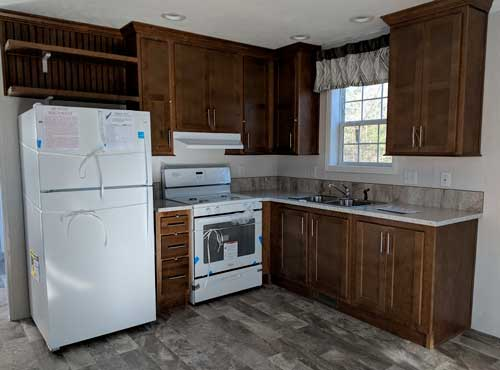 The kitchen in one of the small homes