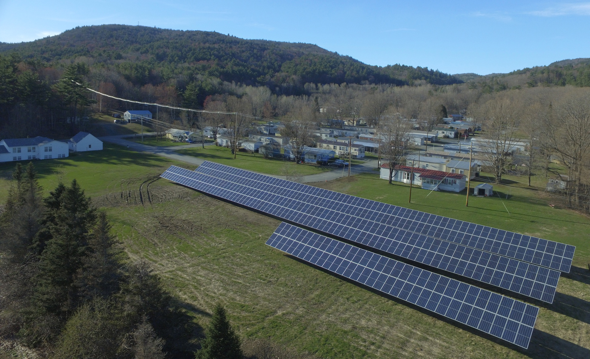 Aerial view of Mascoma Meadows Cooperative's solar array.
